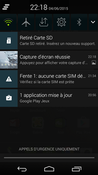 Acer Liquid Jade Z : notifications