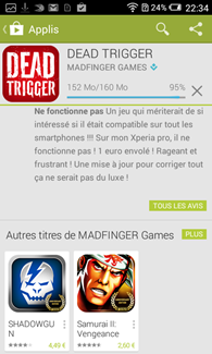 Alcatel OneTouch Pop S3 : rayon Madfinger du Play Store
