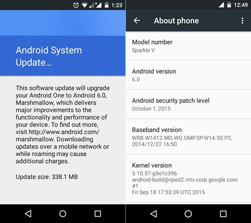 Mise à jour vers Android 6.0 pour Android One