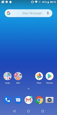 Asus ZenFone Max Pro (M1) home screen
