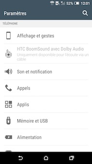 HTC One A9 interface