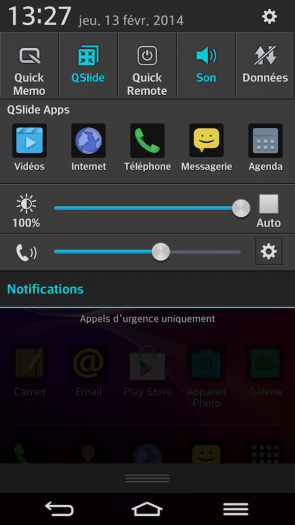 LG G Flex : notifications