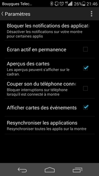 Application Android Wear sur Android