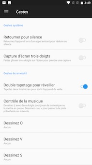 OnePlus 5 : interface (gestes)