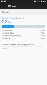 OnePlus 5 : interface (mémoire)