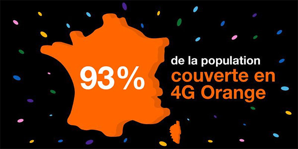 Orange : 93% de la population couverte en 4G