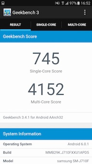 Samsung Galaxy J7 2016 performances
