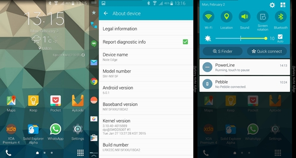 Android 5.0.1 Lollipop sur Samsung Galaxy Note Edge