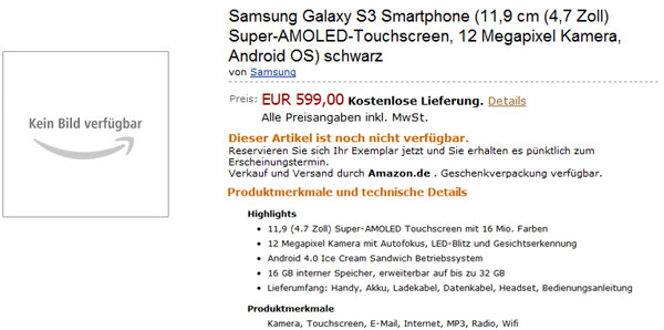 Samsung Galaxy S3 (Amazon)