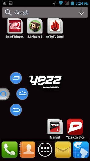 Yezz Andy 6 Interface
