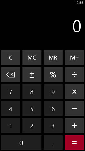 Nokia Lumia 1520 : calculatrice