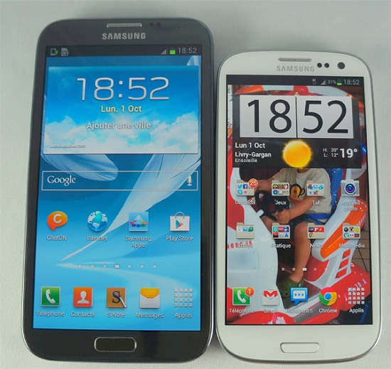 Samsung Galaxy Note 2 : comparatif Samaung Galaxy S3