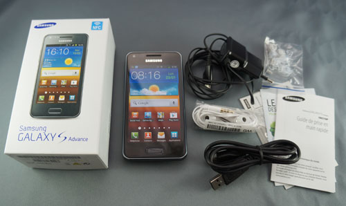 Test Samsung Galaxy S Advance : contenu du pack